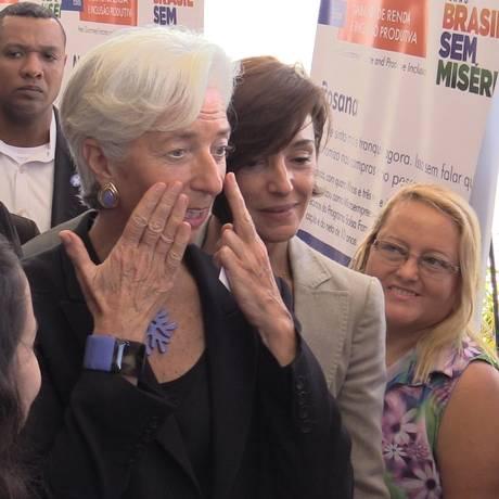 Christine Lagarde elogiou a revendedora de produtos de beleza Solange Monteiro Foto: Raphael Andreozzi / Agência O Globo
