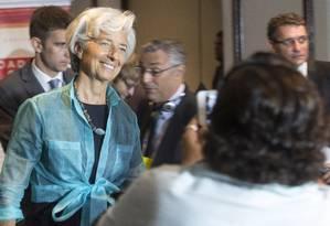 A diretora-gerente Christine Lagarde, durante entrevista coletiva no Rio Foto: ANTONIO SCORZA / Agência O Globo