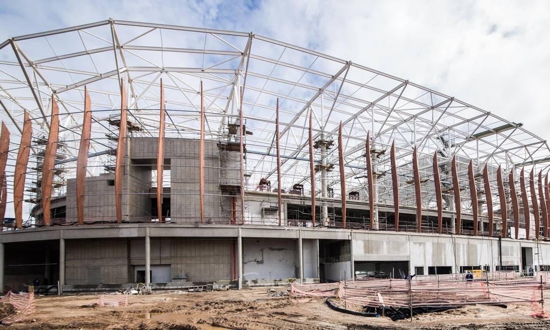 Estrutura da Arena Carioca 1, que terá capacidade para 16 mil pessoas Foto: Renato Sette Camara / Prefeitura do Rio