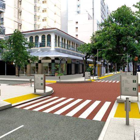 Projeto da prefeitura para a rua inclui novo calçamento Foto: Divulgação/Prefeitura de Niterói