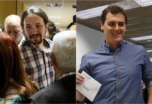 Pablo Iglesias e Albert Rivera votam no domingo: líderes de esquerda e centro-direita são as novas forças contra o bipartidarismo Foto: Montagem / Reuters