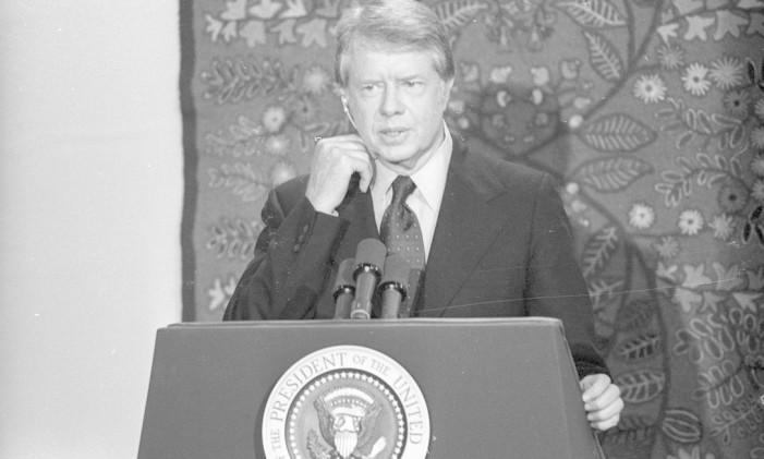 30/03/1978 - Jimmy Carter visita o Brasil e dá coletiva no Hotel Nacional Foto: O Globo