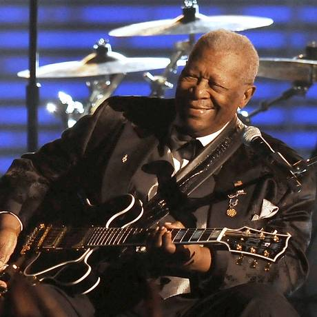 B.B.King em foto de 2009 performs durante o Grammy; guitarrista morreu dia 14 de maio aos 89 anos Foto: ROBYN BECK / AFP