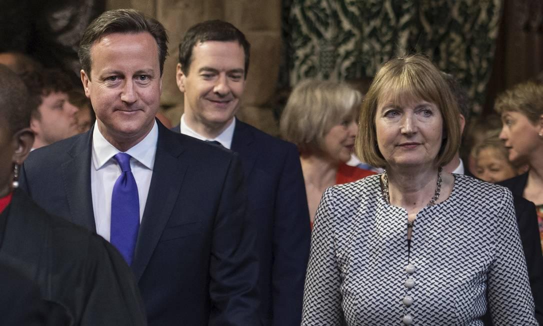 O primeiro-ministro, David Cameron, o chanceler George Osborne, e a líder do Partido Trabalhista, Harriet Harman, na sessão Stefan Rousseau / AP