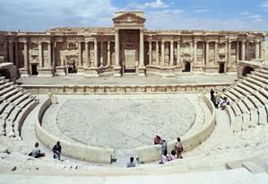 Anfiteatro romano de Palmira. Contrução histórica foi palco de execuções de apoiadores do governo sírio por militantes do Estado Islâmico, diz ONG Foto: Jerzy Strzelecki / Wikimedia Commons