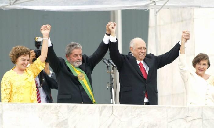 O ex- presidente Lula no parlatório do Palácio do Planalto, em sua posse de 2007. Foto: Givaldo Barbosa / Arquivo O Globo 01.01.2007
