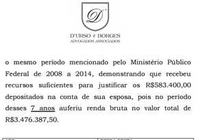 Documento apresentado pela defesa do ex-tesoureiro do PT, João Vaccari Neto Foto: Reprodução