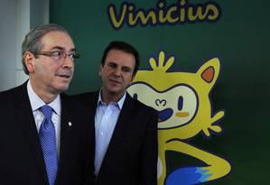 Presidente da Camara, Eduardo Cunha, e o prefeito do Rio, Eduardo Paes, participam de evento do Comitê Rio 2016 Foto: Gustavo Miranda / Agência O Globo