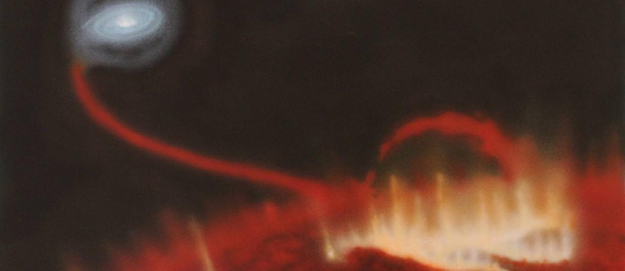 Ilustração mostra a enorme erupção na superfície da estrela gigante vermelha Mira A, tendo ao fundo sua companehira anã-branca, Mira B, lentamente roubando seu material Foto: Katja Lindblom