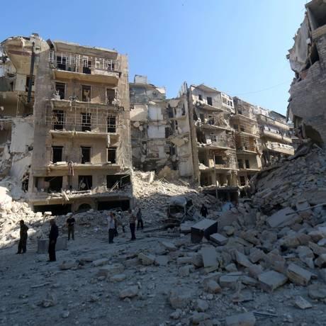 Bairro de Shaar, na zona leste de Aleppo. Ong afirma que tropas do presidente sírio Bashar al-Assad usaram