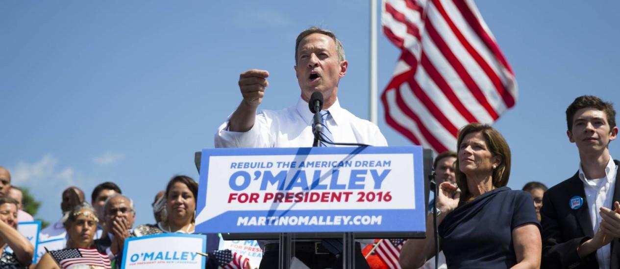 Martin O'Malley durante o anúncio de sua candidatura. Ex-governador de Maryland se juntou a Bernie Sanders e Hillary Clinton na corrida pela indicação do Partido Democrata à disputa presidencial de 2016 Foto: Evan Vucci / AP