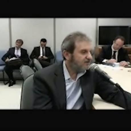 O doleiro Alberto Youssef, durante depoimento de delação premiada Foto: Reprodução de vídeo