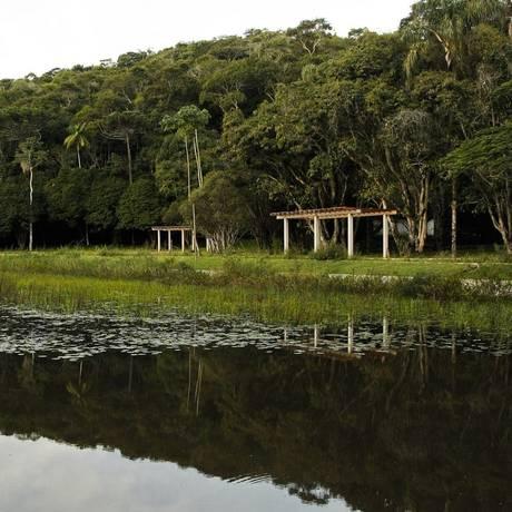Lago do Jardim Botânico e as demais instalações servirão para a formação de alunos de Ciências Biológicas e Arquitetura Foto: Guilherme Leporace / Agência O Globo