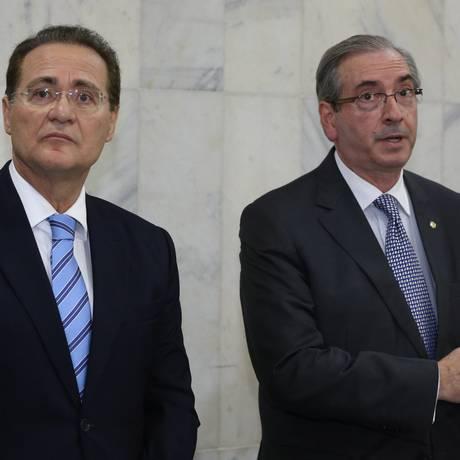 Renan Calheiros e Cunha criam comissão mista para tratar da Lei de Responsabilidade das Estatais Foto: Ailton de Freitas / Agência O Globo