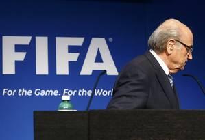 O presidente da Fifa, Joseph Blatter, anunciou nesta terça-feira que vai renunciar ao cargo de presidente da Fifa Foto: RUBEN SPRICH / REUTERS
