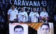 Solidariedade. Parentes dos 43 estudantes mexicanos desaparecidos participam da Caravana 43 Sudamérica, por Brasil, Uruguai e Argentina