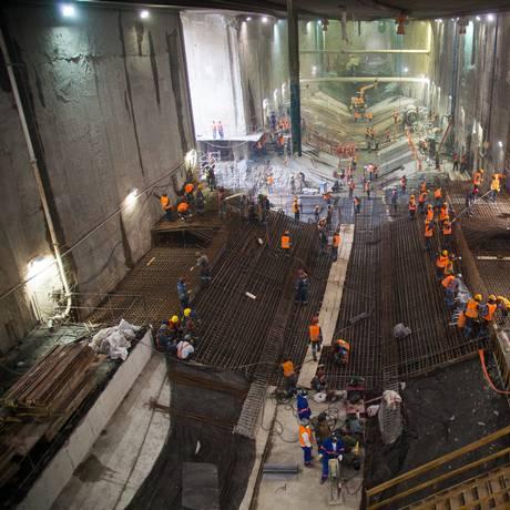Em andamento. Obras na futura estação Antero de Quental, cuja escavação foi concluída recentemente Foto: Divulgação / Divulgação/FSB