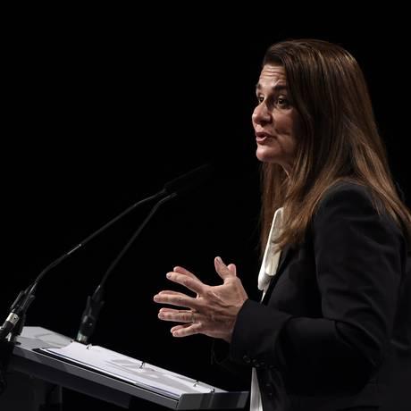 Melinda Gates faz anúncio, em Bruxelas, de doação de US$ 776 milhões, em seis anos, para combater a fome Foto: AFP / JOHN THYS