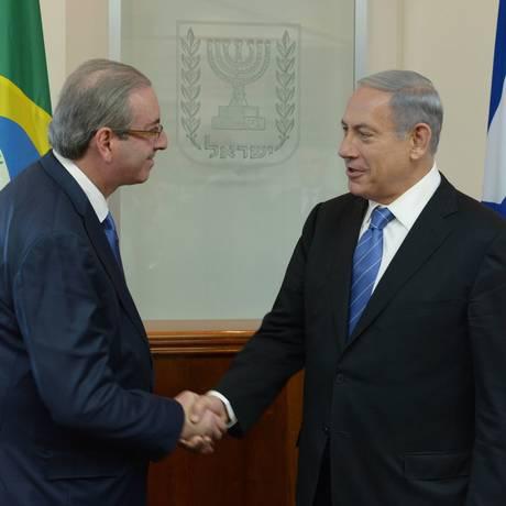 O presidente da Câmara, Eduardo Cunha (PMDB, RJ), participa de audiência com o primeiro-ministro de Israel Benjamin Netanyahu Foto: Amos Ben Gershom/ GPO