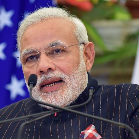 Foto de 25 de janeiro mostra primeiro-ministro indiano, Narendra Modi, em uma entrevista coletiva após conversas com o presidente dos EUA, Barack Obama, em Nova Délhi Foto: PRAKASH SINGH / AFP