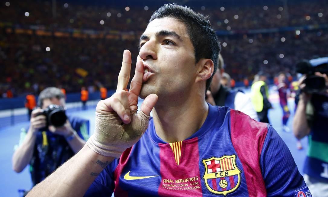 Toda a euforia de Suárez, decisivo na final da Liga dos Campeões e autor do 2º gol do Barcelona sobre o Juventus Kai Pfaffenbach / REUTERS