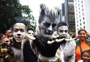Trio investe na fantasia para se divertir e lutar por direitos igualitários para os LGBTs na Parada Gay de São Paulo Foto: Fernando Donasci / Agência O Globo