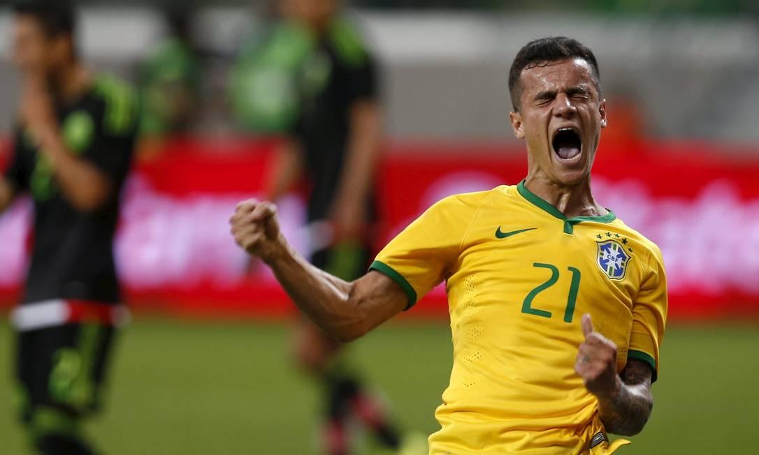 Phillipe Coutinho marcou seu primeiro gol pela seleção principal do Brasil em sete jogos PAULO WHITAKER / REUTERS