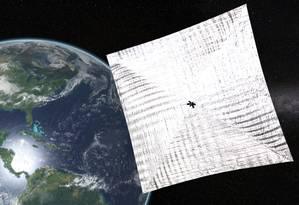 Ilustração da Planetary Society mostra a LightSail em órbita da Terra: apesar de vários problemas técnicos, teste foi um sucesso Foto: Divulgação/Planetary Society