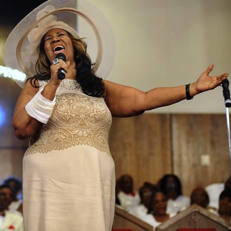 Aretha Franklin durante sua apresentação no último domingo Foto: Elizabeth Conley / AP