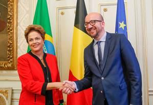 Presidente Dilma Rousseff durante encontro com primeiro-ministro da Bélgica, Charles Michel Foto: Presidência da República / Roberto Stuckert Filho
