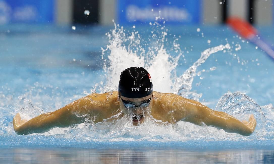 Joseph Schooling, de Cingapura, disputa a final da natação na prova dos 200m Medley Lee Jaewon / REUTERS