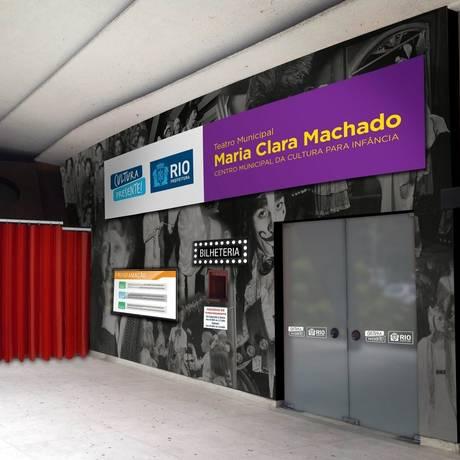 Novidade. Projeto da nova entrada do Teatro Maria Clara Machado, que reabre neste sábado como sede do Centro de Referência Cultura infância Foto: Divulgação/Secretaria Municipal de cultura