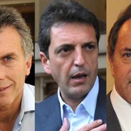 Os candidatos à presidência da Argentina Macri, Massa e Scioli Foto: Montagem / Reprodução