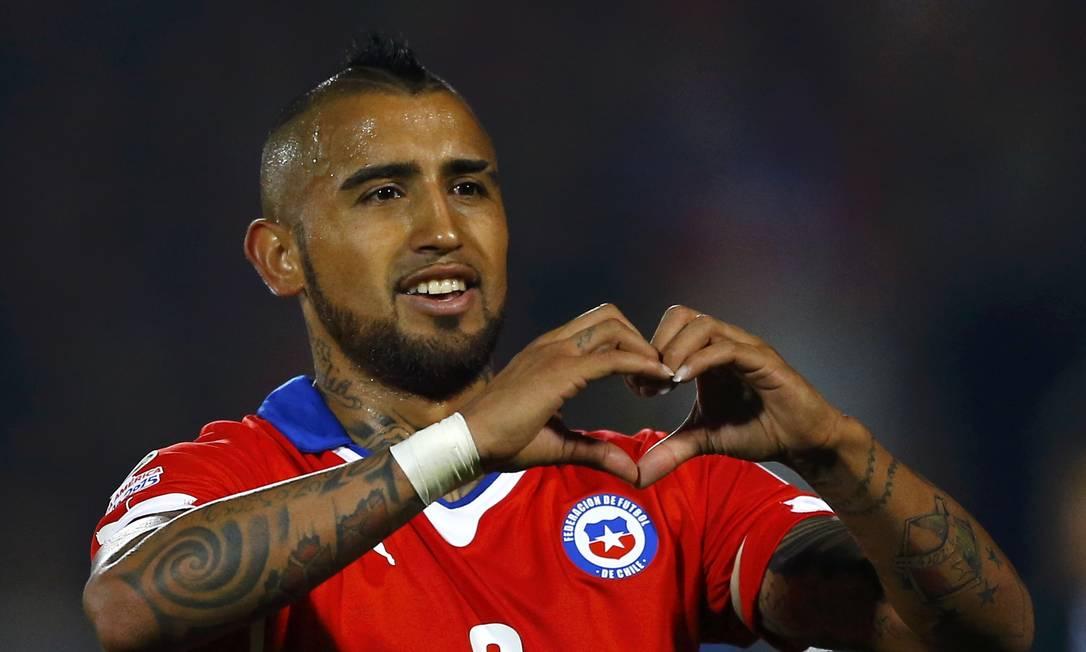A alegria do camisa 8 chileno, que joga no Juventus IVAN ALVARADO / REUTERS