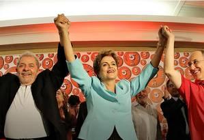 Lula, Dilma e Rui Falcão no congresso do PT Foto: Reprodução/PT