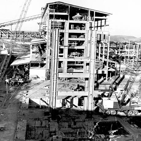 Expansão. Obras da Vale em Itabira: em 1943, O GLOBO tratou dos investimentos como a rota moderna para a mais famosa riqueza do país Foto: Terceiro / Arquivo