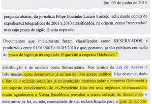 Trecho do documento em que o diretor do Itamaraty cita Lula e a Odebrecht Foto: Reprodução / O Globo