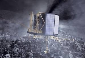 A sonda europeia Rosetta que está no cometa Chury Foto: Divulgação Agência Espacial Europeia