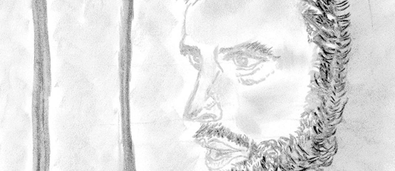 Líder do partido Vontade Popular, o opositor venezuelano Leopoldo López desenhou um autorretrato na prisão Foto: Arquivo pessoal
