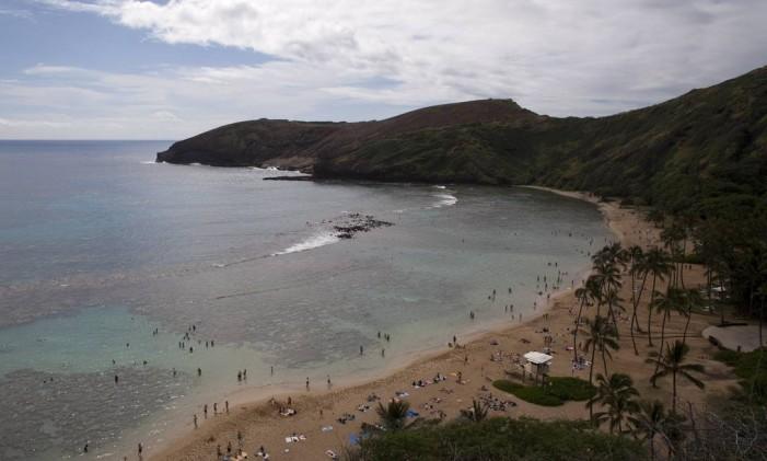 Hanauma Bay em Honolulu, no Havaí Foto: KENT NISHIMURA / NYT