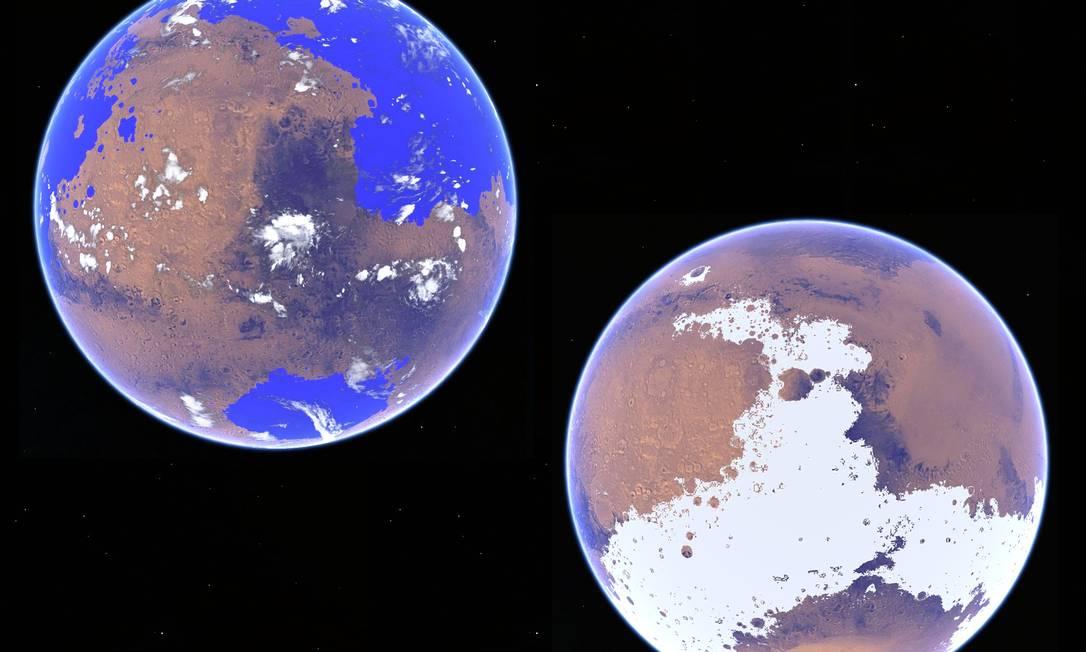 Os dois cenários extremos para o clima de Marte entre 3 bilhões e 4 bilhões de anos atrás: quente e úmido, com um grande oceano (à esquerda), ou frio e coberto de gelo (à direita) Foto: Divulgação/Robin Wordsworth