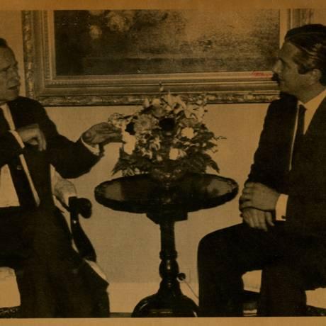 Mal-estar. Collor, à direita, durante encontro com Bush nos EUA: críticas ao Iraque foram vazadas para a imprensa Foto: Arquivo/01-10-1990