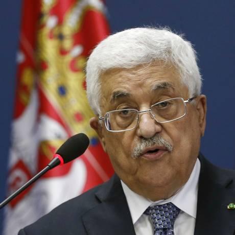 O presidente da Autoridade Nacional Palestina, Mahmoud Abbas, discursa durante uma conferência de imprensa em Belgrado, na Sérvia Foto: Darko Vojinovic / AP