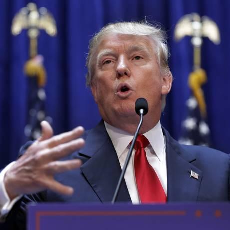 Na apresentação como pré-candidato à Casa Branca, Donald Trump disse que iria construir um grande muro na fronteira com o México Foto: Richard Drew / AP