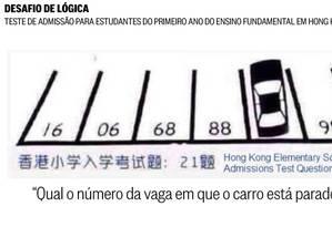 'Qual o número da vaga em que o carro está parado?', pergunta o teste de lógica Foto: Reprodução