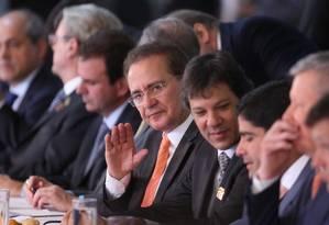O senador Renan Calheiros, presidente do Senado, durante encontro com prefeitos no Congresso Nacional. Foto: ANDRE COELHO / Agência O Globo