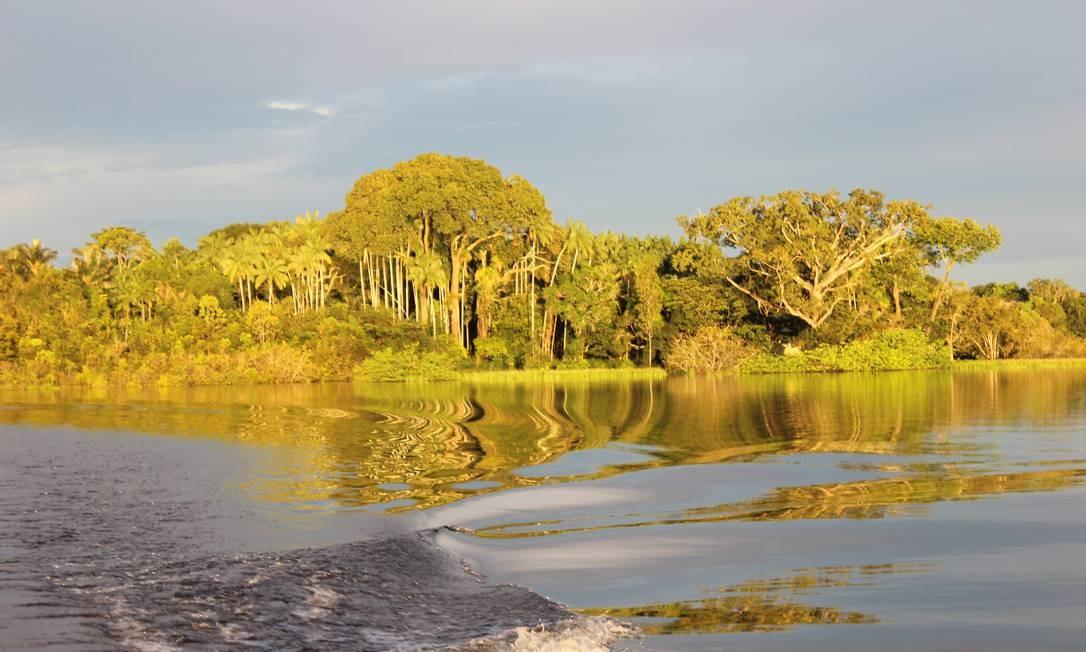 Entardecer: hora boa para observar o reflexo do entorno no rio Foto: Léa Cristina / Agência O Globo