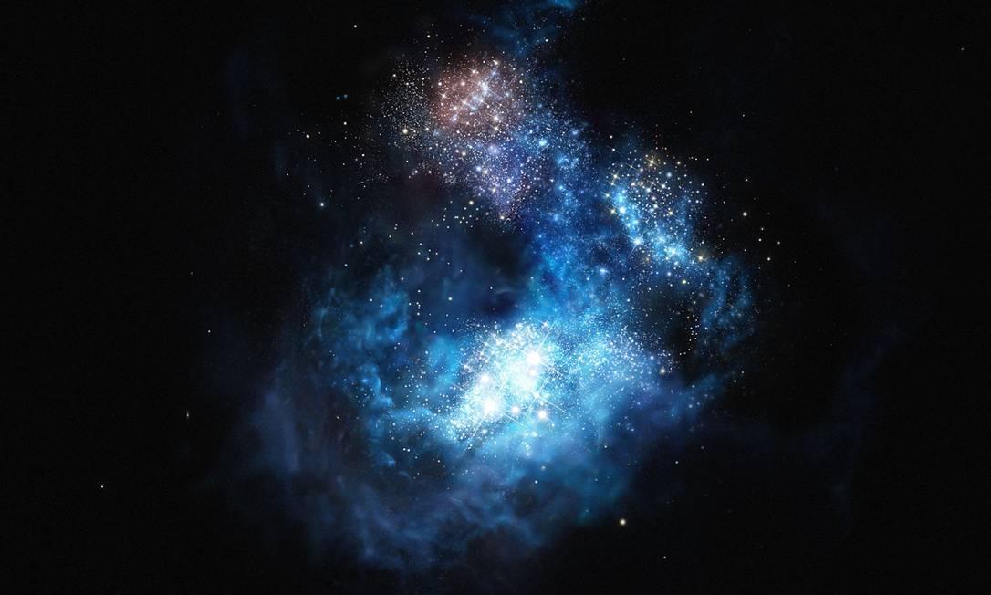 Representação artística da galáxia CR7, que poderia conter as estrelas mais antigas do universo Foto: / ESO
