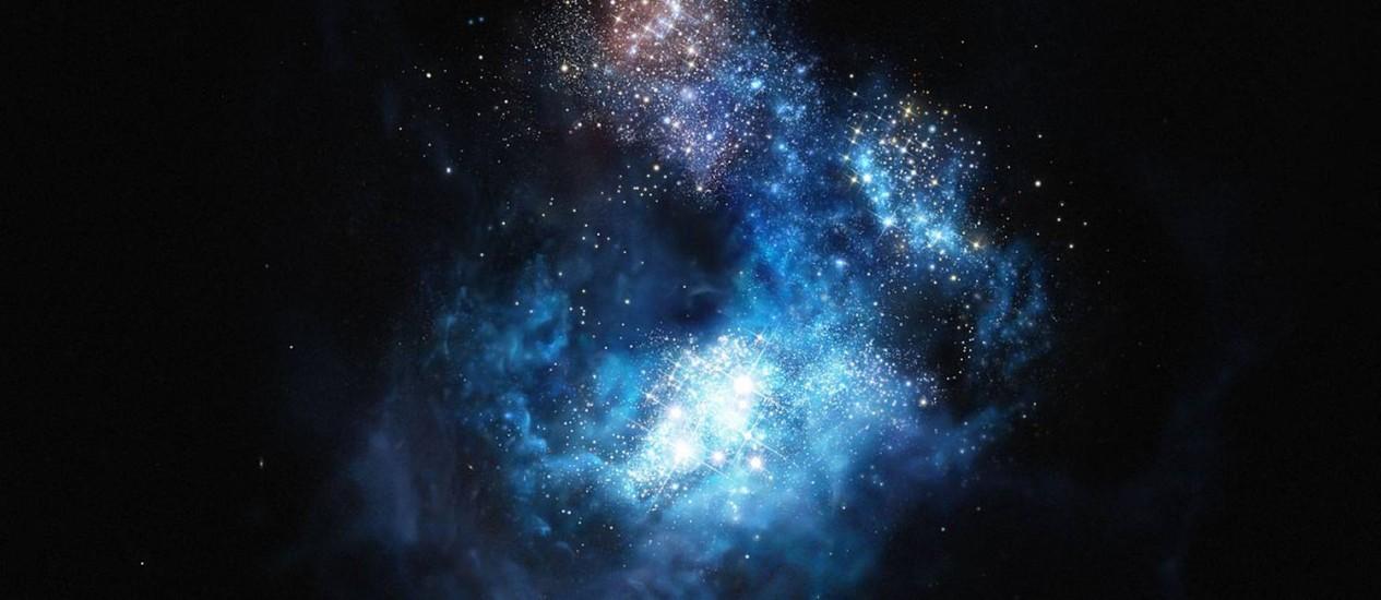 Representação artística da galáxia CR7, que poderia conter as estrelas mais antigas do universo Foto: ESO