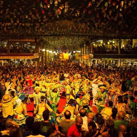 Em festa. Comemorações juninas marcam alta temporada da Feira de São Cristóvão: até agosto, média mensal de visitantes é 500 mil, e são gerados até dez mil empregos Foto: Daniel Marenco / Agência O Globo